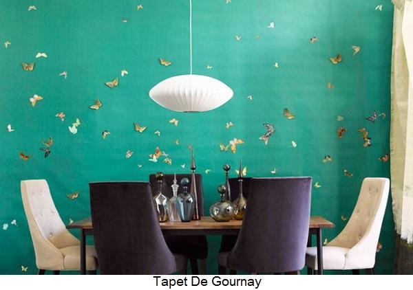 emerald green wallpaper butterflies