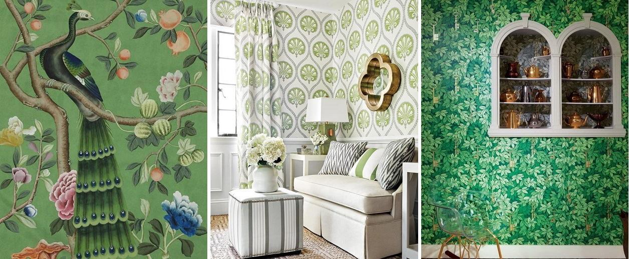 Tapet La Maison in greenery, culoarea anului pantone