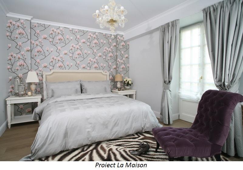 proiect la maison dormitor tapet magnolii