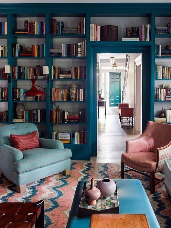 biblioteca culoare puternica la maison